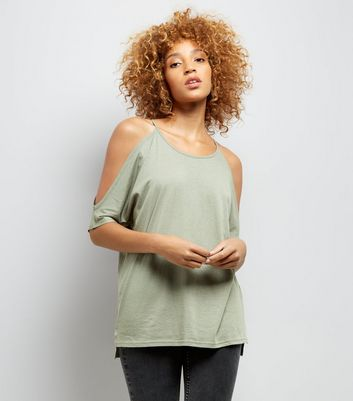 Khaki Cold Shoulder T-Shirt
