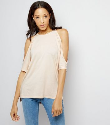 Pale Pink Cold Shoulder T-Shirt