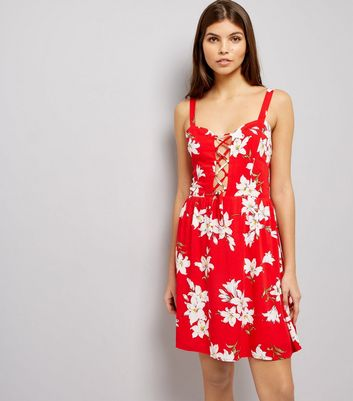 Parisian Red Floral Print Lattice Front Dress