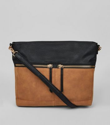 Tan Colour Block Zip Shoulder Bag