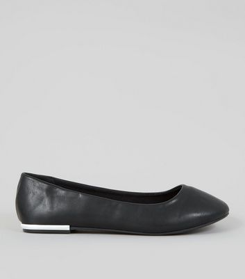 Wide Fit Black Metal Heel Ballerina Pumps