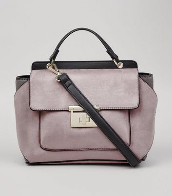 Lilac Suedette Top Handle Shoulder Bag