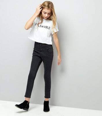Teens. Black High Waist Corset Skinny Jeans