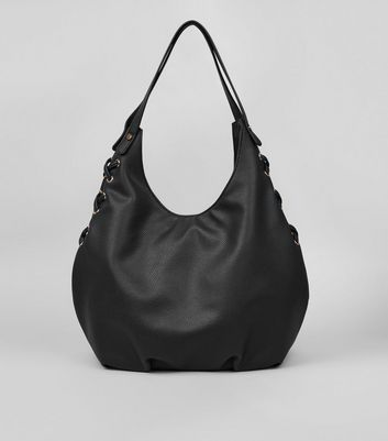 Black Textured Lace Side Hobo Bag