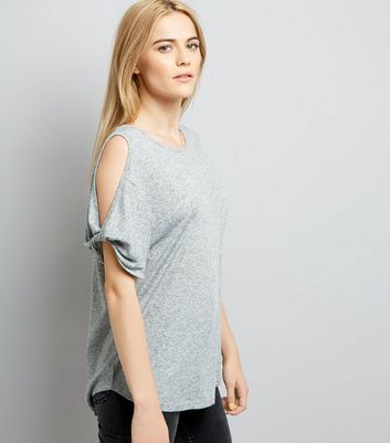 Grey Twist Cold Shoulder T-Shirt