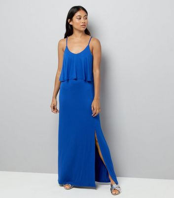 Petite Blue Layered Split Side Maxi Dress