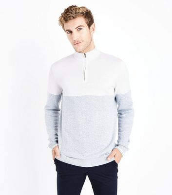 Grey Colour Block Zip Front Jumper