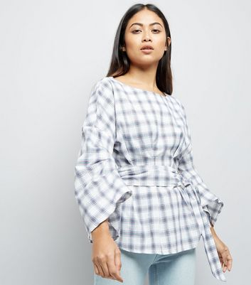 Petite White Check Ring Belt Ruched Sleeve Top