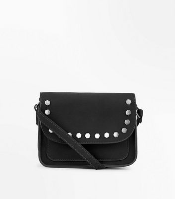 Black Hexagon Studded Cross Body Bag