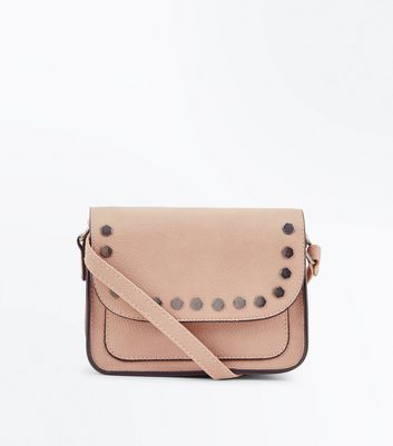 Shell Pink Hexagonal Stud Cross Body Bag