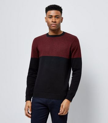 Burgundy Colour Block Crew Neck Jumper