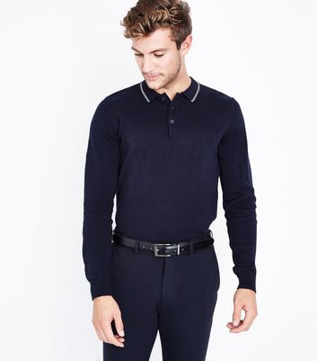 Navy Contrast Collar Long Sleeve Polo T-Shirt