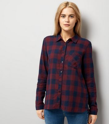 JDY Navy Check Dip Hem Shirt