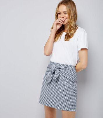 Blue Gingham Tie Front Mini Skirt