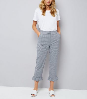 Blue Gingham Frill Hem Trousers