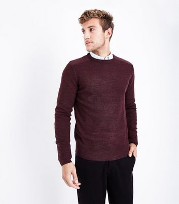 Burgundy Textured Knit Jumper