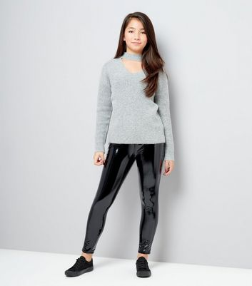 Teens Black High Shine Leather-Look Jeans