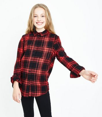 Teens Red Check Pocket Front Shirt