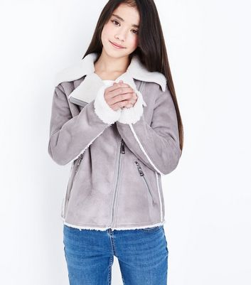 Teens Grey Faux Shearling Lined Aviator Jacket