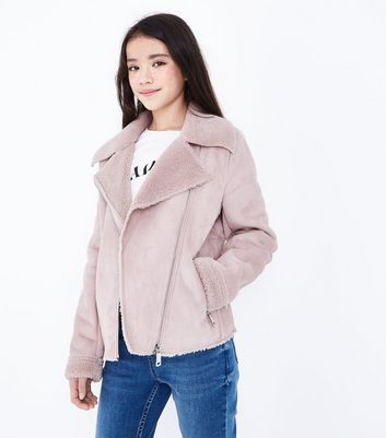Teens Pink Faux Shearling Lined Biker Jacket