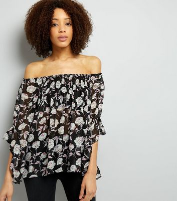 Blue Vanilla Black Floral Print Bardot Neck Top