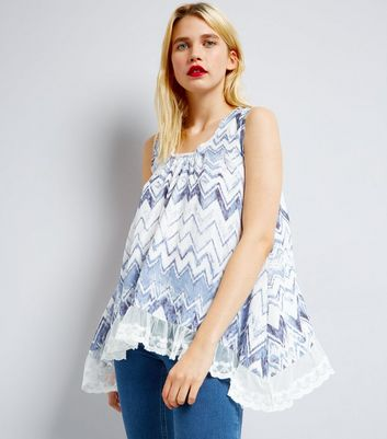 Blue Vanilla Blue Zig Zag Lace Trim Top