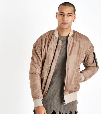 Stone Suedette Bomber Jacket