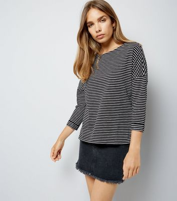 Black Stripe 3/4 Sleeve Slouchy T-Shirt