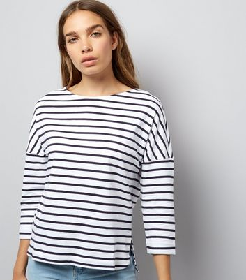 White Stripe 3/4 Sleeve Slouchy T-Shirt