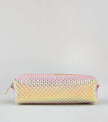 Pink Holographic Quilted Pencil Case