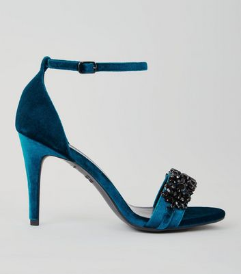 Blue Velvet Embellished Heeled Sandals