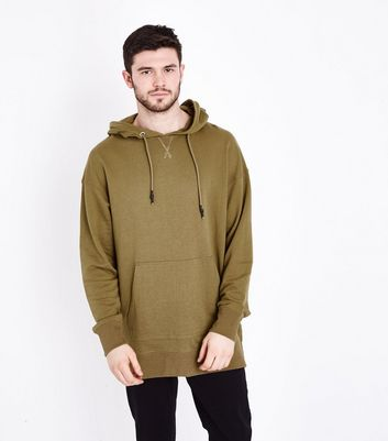 Khaki Dropped Shoulder Split Hem Hoodie