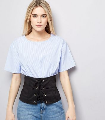 Cameo Rose Blue Corset Hem Top