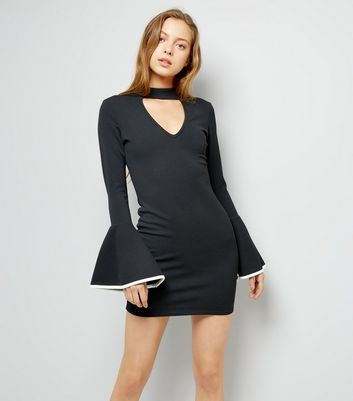 Cameo Rose Black Bell Sleeve Dress