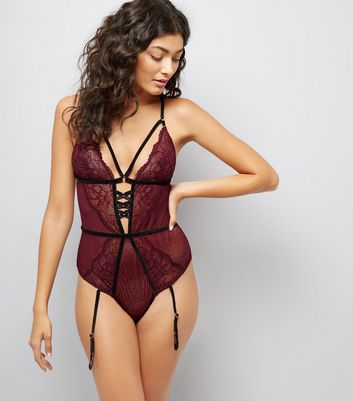 Dark Purple Premium Strappy Bodysuit