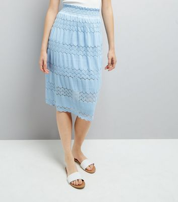Cameo Rose Blue Crochet Lace Trim Maxi Skirt
