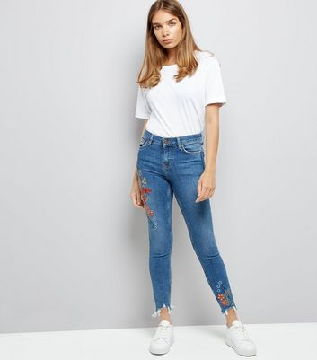 Blue Floral Embroidered Distressed Hem Skinny Jeans