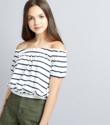 Teens White Stripe Bardot Neck Top