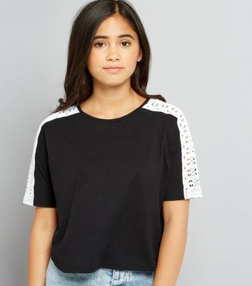 Teens Black Crochet Sleeved Crop T-Shirt
