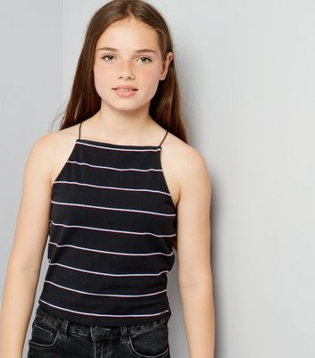 Teens Black Stripe High Neck Cami