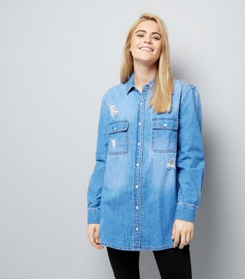 Blue Ripped Boyfriend Denim Shirt