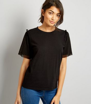 Black Dot Mesh Sleeve T-Shirt