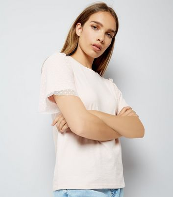 Pink Dot Mesh Sleeve T-Shirt
