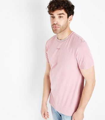 Pink Acid Wash Rose Back Printed T-Shirt