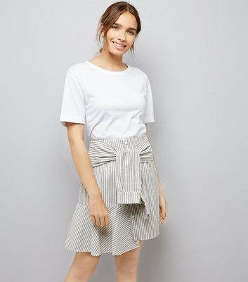 Blue Stripe Tie Shirt Sleeve Skirt