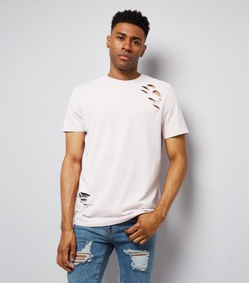 Pink Ripped Washed T-Shirt