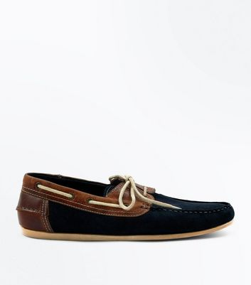 Navy Suede Contrast Panel Boat Shoes