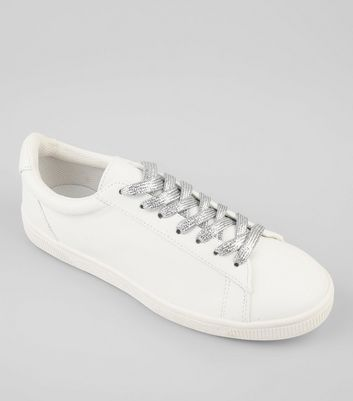 White Lace Up Detail Trainers