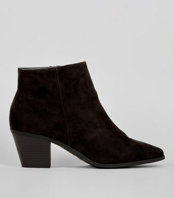 Wide Fit - Bottines noires en suédine style western