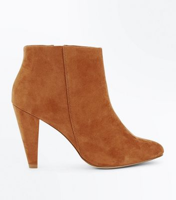 Wide Fit Tan Suedette Cone Heel Shoe Boots